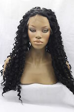 Fashion Long Deep Wavy Synthetic Lace Front Heat Resistant Curly Wigs 1B Black