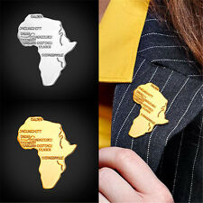 Shirt Accessories 18K Gold /Platinum Plated African Map Shape Pin Brooch for Men