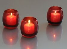 72 Red Optic Votive Holders + 72 Votive Candles: Choose From 10 Candle Colors