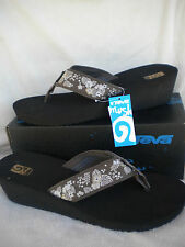 TEVA MUSH Mandalyn Wedge 2 Thong Sandal~Palm Flower Brown~Most sizes~NEW 1000993