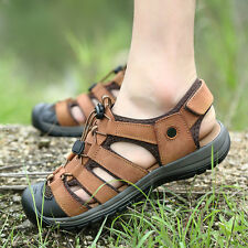 Mens Outdoor Sport Beach Leather Sandals Closed Toe Flats Fisherman Casual Shoes