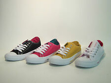 LADIES SPOT ON LACE UP CANVAS PUMPS STYLE F80016