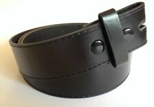 """Belt - New Leather Black Stitched Mens Womens Snap On to suit 1.5"""" (40mm) Buckle"""