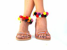 Boho Sandals, friendships, semipresius beads & colourful pom pom, Handmade Sanda