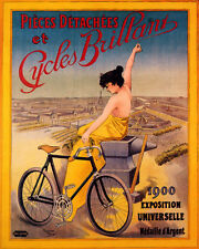 POSTER CYCLES BRILLANT 1900 PARIS BICYCLE EXPOSITION VINTAGE REPRO FREE S/H