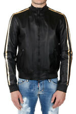 DSQUARED2 Man Leather Jacket with Golden Details Made in Italy
