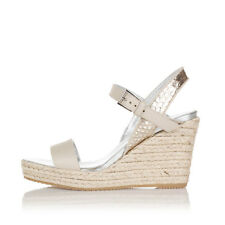 HOGAN Women Grey Leather Sandals Shoes with Wedge Made in Italy New