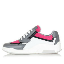 PRADA Women White Pink Leather and Fabric Sneakers Shoes New Original