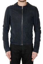 RICK OWENS Men Blue Leather PERRIAND Jacket Made in Italy New with Tag