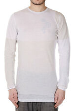 RICK OWENS Men White Cotton ROUND NECK Sweater Made in Italy New with Tag