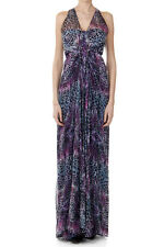RICHMOND Women Violet Leopard Printed Silk Long Dress Made in Italy New