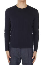 GUCCI Men New Blue Cotton Crewneck Long Sleeve Sweater Made in Italy