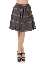PRADA Women New Brown Cotton Stretch blend Flared Pleated Skirt Made in Italy