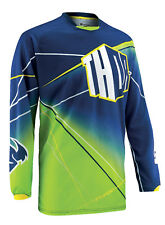Thor Navy Blue/Fluorescent Green Phase Prism Dirt Bike Mens Youth Jersey MX ATV