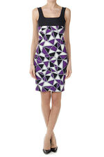 FAUSTO PUGLISI Women Black and Violet Stretch Geometric Pattern Dress Italy Made