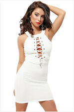 Fashion Halter Sleeveless Lacing Chest Sexy Slim Package Hip Mini Women's Dress