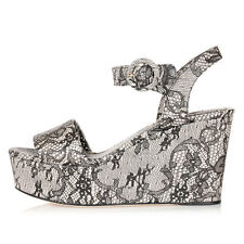 DOLCE & GABBANA Women Printed Leather Wedge Sandals Made in Italy