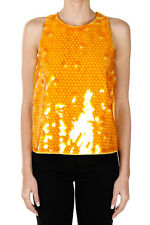 MOSCHINO CHEAP AND CHIC Women Yellow Stretch Top with Sequins New