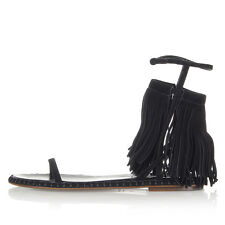 MIU MIU Women New Black Suede Leather Sandals Shoes with Fringes Made in Italy
