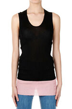 ALEXANDER MCQUEEN Women Black and Pink Stretch Top Made in Italy New