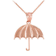 10k Rose Gold Open Retracted Sunshade Protected Umbrella Pendant Necklace