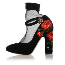 DOLCE & GABBANA Women Black Suede Pump Shoes with Embroideries Made in Italy