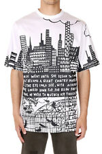 JUUN J Men White and Black Round Neck Printed Cotton T-Shirt New with Tag