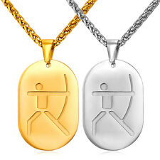 Stainless Steel Shooting Archery Dog Tag Pendant Necklaces Gold Plated Jewelry