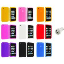 Swirl Silicone Rubber Gel Case Cover Accessory+Dual Charger for iPhone 3G S 3GS