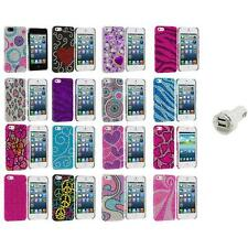 Color Diamond Rhinestone Bling Cute Case Cover+Dual Charger for iPhone 5 5S