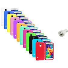 For Samsung Galaxy S5 SV Silicone Soft Rubber Case Color Cover+Dual Charger