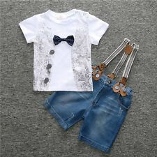 2pcs Kids Baby Boy T-shirt Tops+Denim Overalls Pants Trousers Outfit Clothes Set