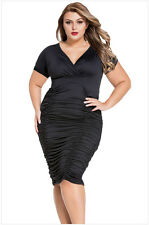 Women V-neck Folds Tight Vestidos Sexy Package Hip Ladies' Dress Plus Size L-3XL