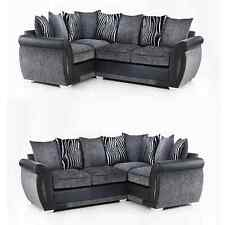 Mulberry Corner Sofa Black Faux Leather & Grey Velvet Fabric L-Shape Right Left