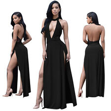 Fashion Sexy Women's Backless Long Maxi Dress Halter Pub Clubwear Evening Party