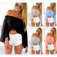 Sexy Womens Off Shoulder Pleated Tank Cropped Tops Long Sleeve Beach Club Shirt