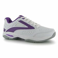 Dunlop Flash Classic Tennis Shoes Womens White/Purple Trainers Sneakers