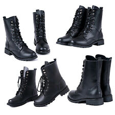 Women Cool Black Military Army PUNK Knight Lace-up Short Boots Shoes HY