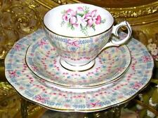 SWAG of PINK BOWS & ORCHIDS Older Queen Anne  TRIO * Tea Cup and Saucer c.1940's