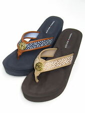 TOMMY HILFIGER WOMENS WEDGE FLIP FLOPS SIGNATURE LOGO 7 9 10 11