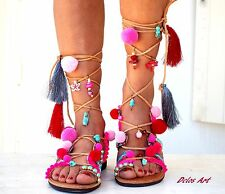 Pink Pom Pom Sandals, Leather Sandals, Gladiator sandals, Greek Sandals, pink Co