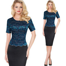 Womens Lace Stitching Embroidery Package Hip Pencil Dress for Women Wear to Work