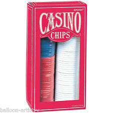 Casino Nights 150 x Poker Chips 3 Colours Red White Blue Party Game Bets Vegas