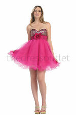 Homecoming Short Strapless Sweetheart Beaded Tulle Sassy Prom Cocktail Dress