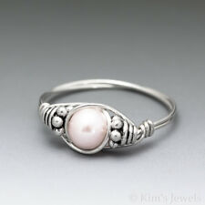 Soft Pink Pearl Bali Sterling Silver Wire Wrapped Bead Ring