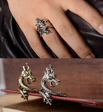 SKULL TATTOO ANTIQUE ORNAMENT VINTAGE RING LUCKY DRAGON SILVER PLATED CHARMS