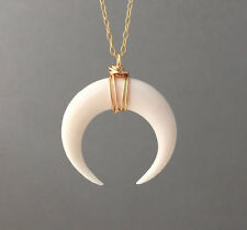 LARGE White Bone Double Horn Pendant Necklace Crescent Moon Silver Rose Gold