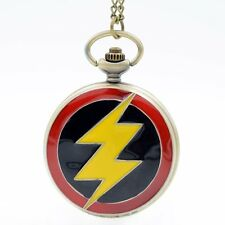 Hot Fashion The Flash Hero Quartz Pocket Watch Analog Pendant Necklace Mens Boys