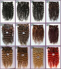 150g 8pcs Curly Wavy Remy Human Hair Deep Clip In Real Hair Extensions Full Head