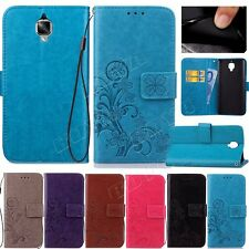 Phone leather case PU wallet flip cover card pockets stand strap protective skin
